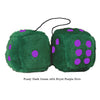 4 Inch Dark Green Fluffy Dice with Royal Purple Dots