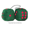 4 Inch Dark Green Fluffy Dice with Red Dots