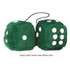 3 Inch Dark Green Furry Dice with White Dots
