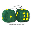3 Inch Dark Green Furry Dice with Yellow Dots