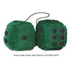 4 Inch Dark Green Fluffy Dice with BLACK GLITTER DOTS