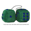 4 Inch Dark Green Fluffy Dice with ROYAL NAVY BLUE GLITTER DOTS