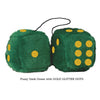 3 Inch Dark Green Furry Dice with GOLD GLITTER DOTS