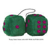 4 Inch Dark Green Fluffy Dice with HOT PINK GLITTER DOTS