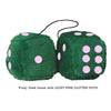 4 Inch Dark Green Fluffy Dice with LIGHT PINK GLITTER DOTS