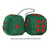 3 Inch Dark Green Furry Dice with RED GLITTER DOTS