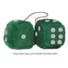 4 Inch Dark Green Fluffy Dice with SILVER GLITTER DOTS
