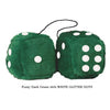 4 Inch Dark Green Fluffy Dice with WHITE GLITTER DOTS