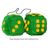 4 Inch Emerald Green Plush Dice with Goldenrod Dots