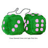 4 Inch Emerald Green Plush Dice with Light Pink Dots