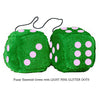 4 Inch Emerald Green Plush Dice with LIGHT PINK GLITTER DOTS