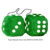 4 Inch Emerald Green Plush Dice with WHITE GLITTER DOTS