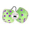 3 Inch Lime Green Fluffy Dice
