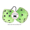 4 Inch Lime Green Fuzzy Dice with Black Dots