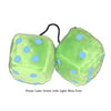 4 Inch Lime Green Fuzzy Dice with Light Blue Dots