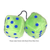 4 Inch Lime Green Fuzzy Dice with Royal Navy Blue Dots