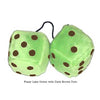 4 Inch Lime Green Fuzzy Dice with Dark Brown Dots