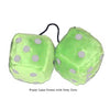 3 Inch Lime Green Fluffy Dice with Grey Dots
