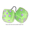 4 Inch Lime Green Fuzzy Dice with Lavender Purple Dots