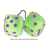 4 Inch Lime Green Fuzzy Dice with Royal Purple Dots