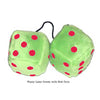 3 Inch Lime Green Fluffy Dice with Red Dots