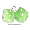 4 Inch Lime Green Fuzzy Dice with White Dots