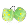 4 Inch Lime Green Fuzzy Dice with Yellow Dots