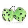4 Inch Lime Green Fuzzy Dice with BLACK GLITTER DOTS