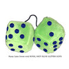 4 Inch Lime Green Fuzzy Dice with ROYAL NAVY BLUE GLITTER DOTS