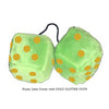 4 Inch Lime Green Fuzzy Dice with GOLD GLITTER DOTS