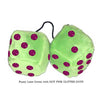 4 Inch Lime Green Fuzzy Dice with HOT PINK GLITTER DOTS
