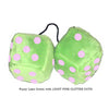 4 Inch Lime Green Fuzzy Dice with LIGHT PINK GLITTER DOTS