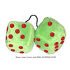 3 Inch Lime Green Fluffy Dice with RED GLITTER DOTS