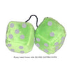 3 Inch Lime Green Fluffy Dice with SILVER GLITTER DOTS