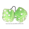 3 Inch Lime Green Fluffy Dice with WHITE GLITTER DOTS