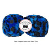 3 Inch Blue Leopard Fuzzy Dice with Black Dots
