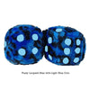 3 Inch Blue Leopard Fuzzy Dice with Light Blue Dots