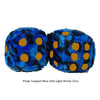 3 Inch Blue Leopard Fuzzy Dice with Light Brown Dots