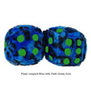 3 Inch Blue Leopard Fuzzy Dice with Dark Green Dots