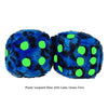 3 Inch Blue Leopard Fuzzy Dice with Lime Green Dots