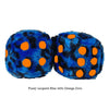 3 Inch Blue Leopard Fuzzy Dice with Orange Dots