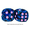 3 Inch Blue Leopard Fuzzy Dice with Light Pink Dots