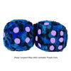 3 Inch Blue Leopard Fuzzy Dice with Lavender Purple Dots