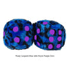 3 Inch Blue Leopard Fuzzy Dice with Royal Purple Dots