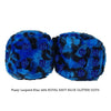 3 Inch Blue Leopard Fuzzy Dice with ROYAL NAVY BLUE GLITTER DOTS