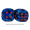 3 Inch Blue Leopard Fuzzy Dice with RED GLITTER DOTS