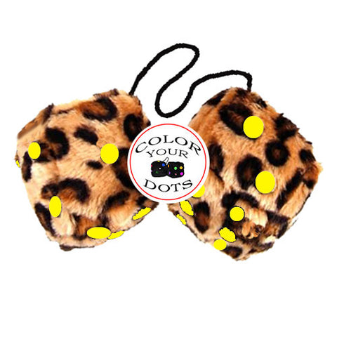 3 Inch Brown Leopard Furry Dice