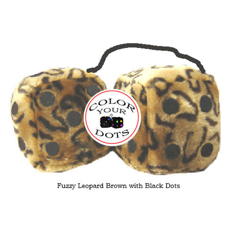4 Inch Leopard Brown Fluffy Dice with Black Dots