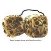 4 Inch Leopard Brown Fluffy Dice with Dark Brown Dots
