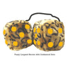 4 Inch Leopard Brown Fluffy Dice with Goldenrod Dots